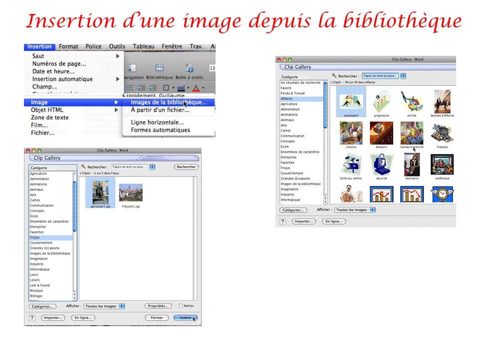 Insertion dune image depuis la bibliothèque