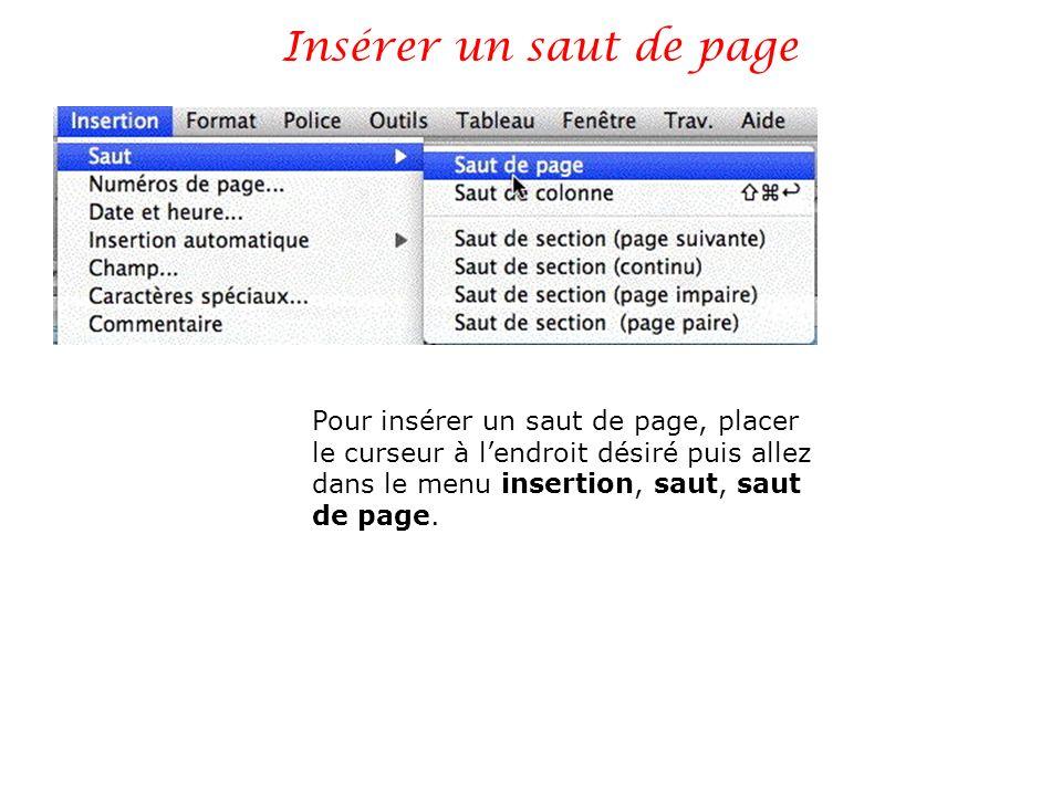 Insérer un saut de page Pour insérer un saut de page, placer le curseur à lendroit désiré puis allez dans le menu insertion, saut, saut de page.