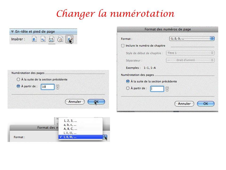 Changer la numérotation