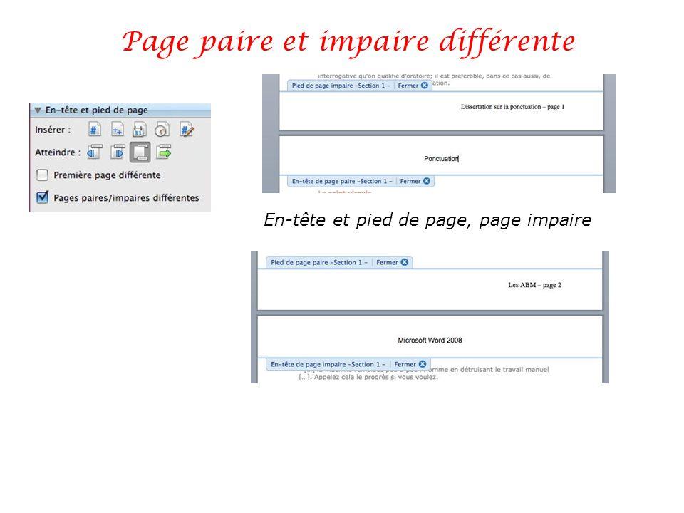 Page paire et impaire différente En-tête et pied de page, page impaire