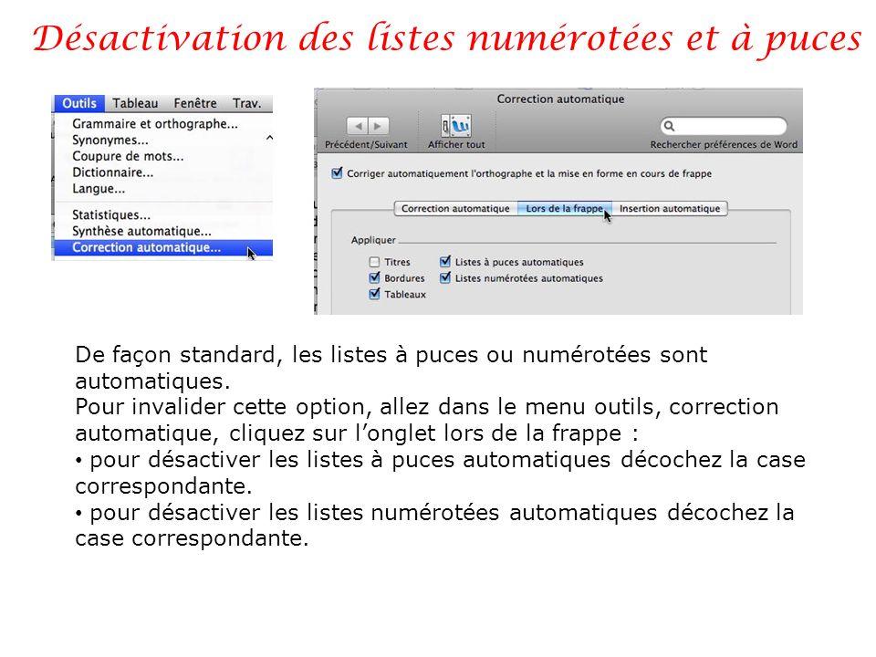 Désactivation des listes numérotées et à puces De façon standard, les listes à puces ou numérotées sont automatiques. Pour invalider cette option, all