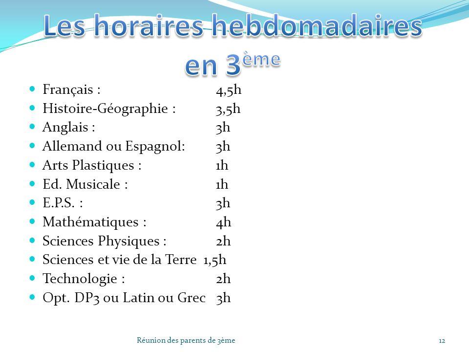 Français : 4,5h Histoire-Géographie : 3,5h Anglais : 3h Allemand ou Espagnol:3h Arts Plastiques : 1h Ed. Musicale : 1h E.P.S. :3h Mathématiques : 4h S
