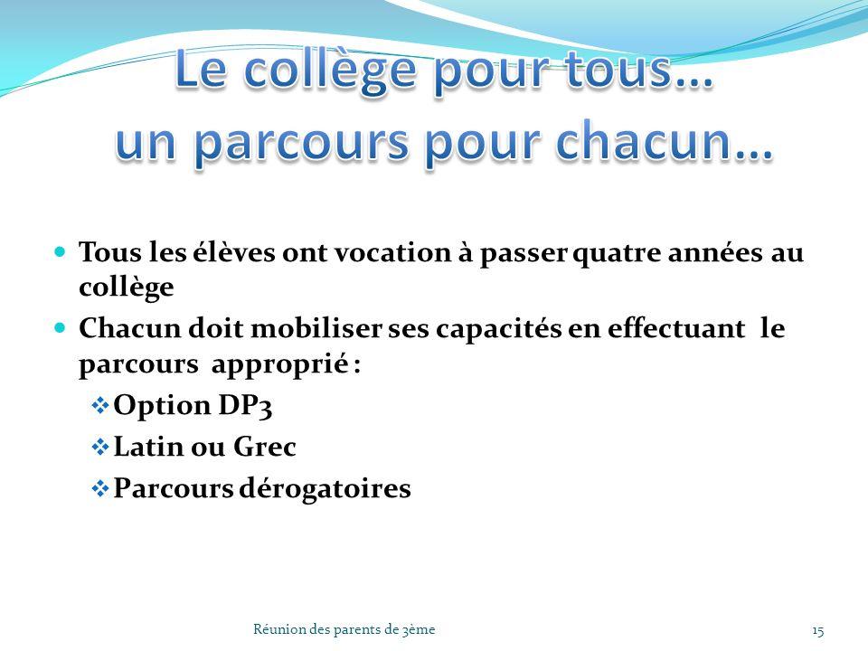 Tous les élèves ont vocation à passer quatre années au collège Chacun doit mobiliser ses capacités en effectuant le parcours approprié : Option DP3 La