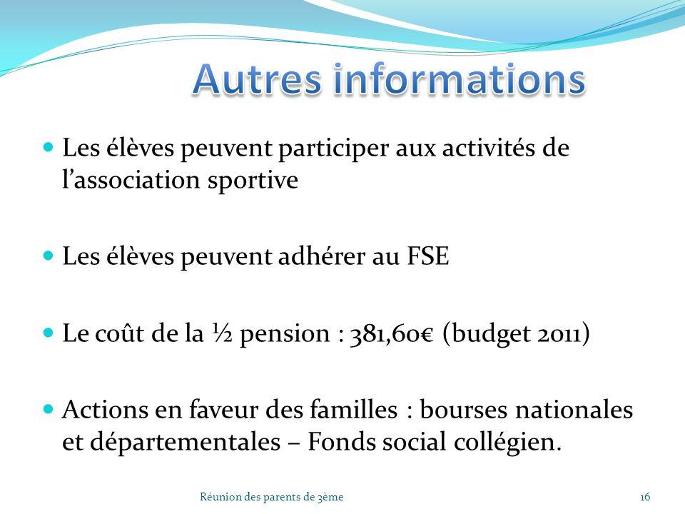 Les élèves peuvent participer aux activités de lassociation sportive Les élèves peuvent adhérer au FSE Le coût de la ½ pension : 381,60 (budget 2011)