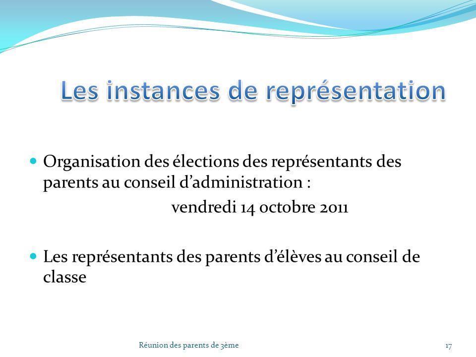 Organisation des élections des représentants des parents au conseil dadministration : vendredi 14 octobre 2011 Les représentants des parents délèves a