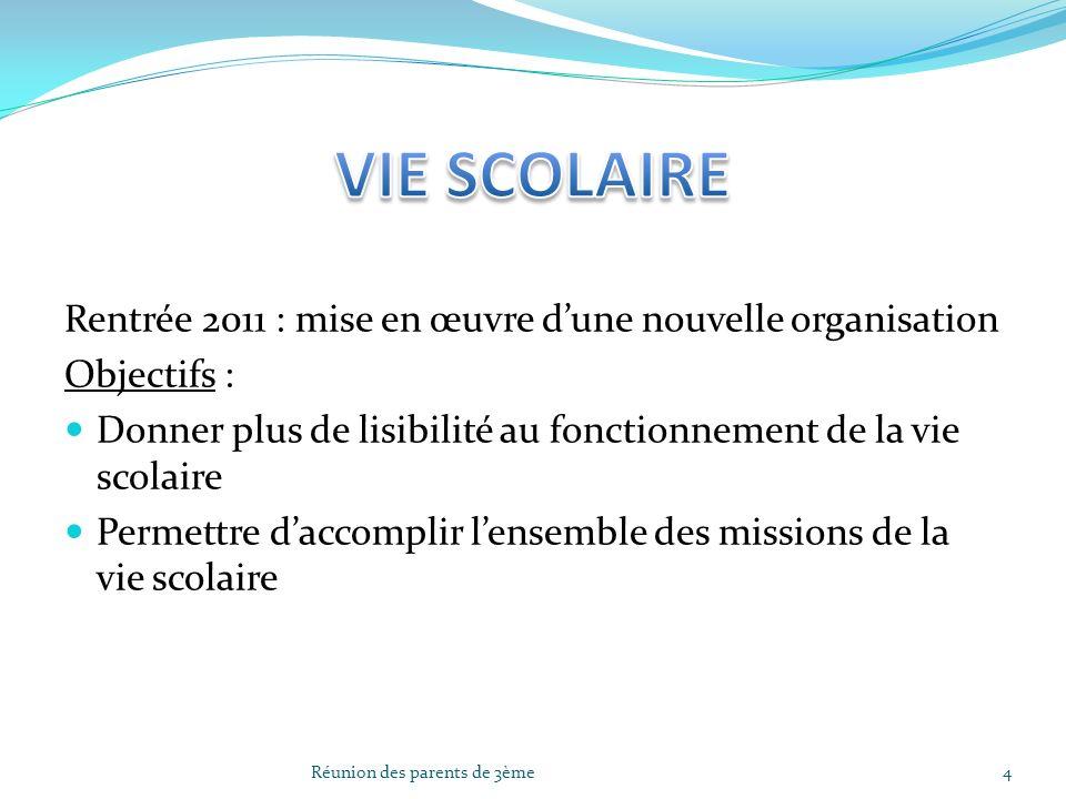 Rentrée 2011 : mise en œuvre dune nouvelle organisation Objectifs : Donner plus de lisibilité au fonctionnement de la vie scolaire Permettre daccompli