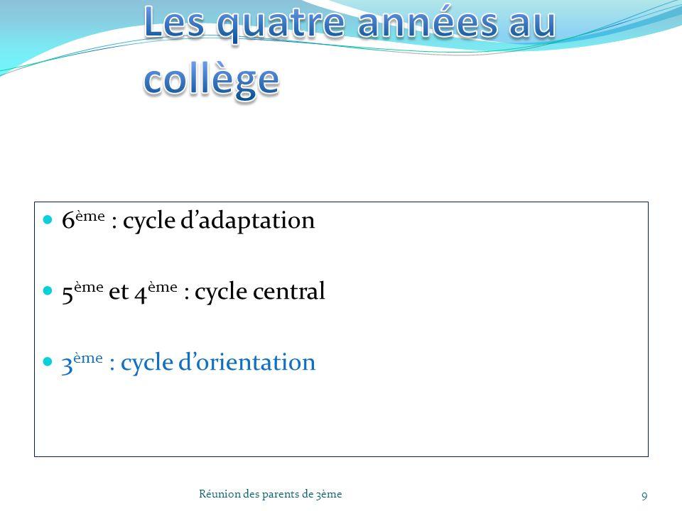6 ème : cycle dadaptation 5 ème et 4 ème : cycle central 3 ème : cycle dorientation 9Réunion des parents de 3ème