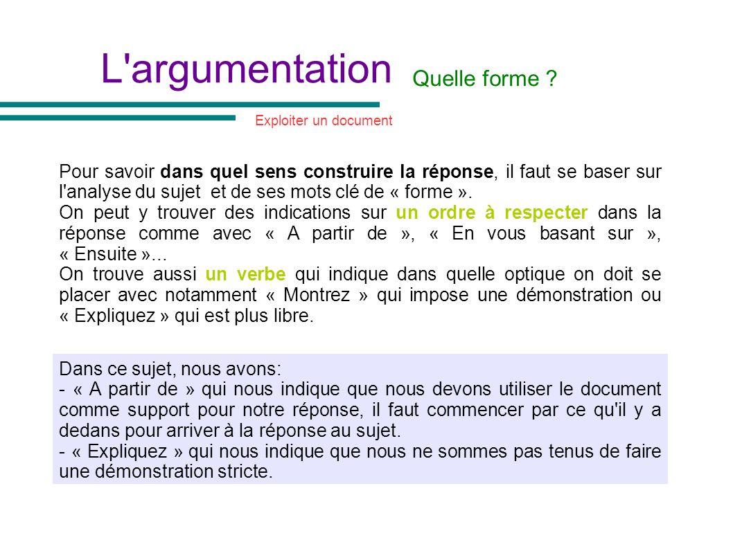 L'argumentation Quelle forme ? Exploiter un document Pour savoir dans quel sens construire la réponse, il faut se baser sur l'analyse du sujet et de s