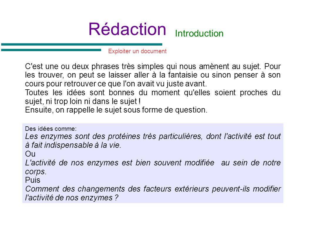 Rédaction Introduction C'est une ou deux phrases très simples qui nous amènent au sujet. Pour les trouver, on peut se laisser aller à la fantaisie ou