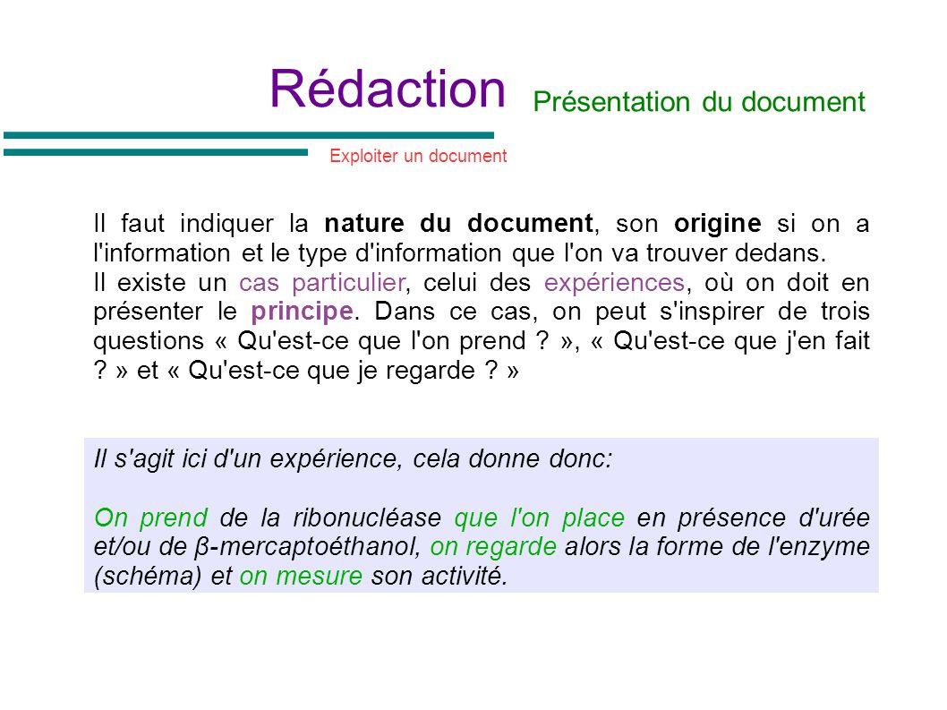 Rédaction Il faut indiquer la nature du document, son origine si on a l'information et le type d'information que l'on va trouver dedans. Il existe un