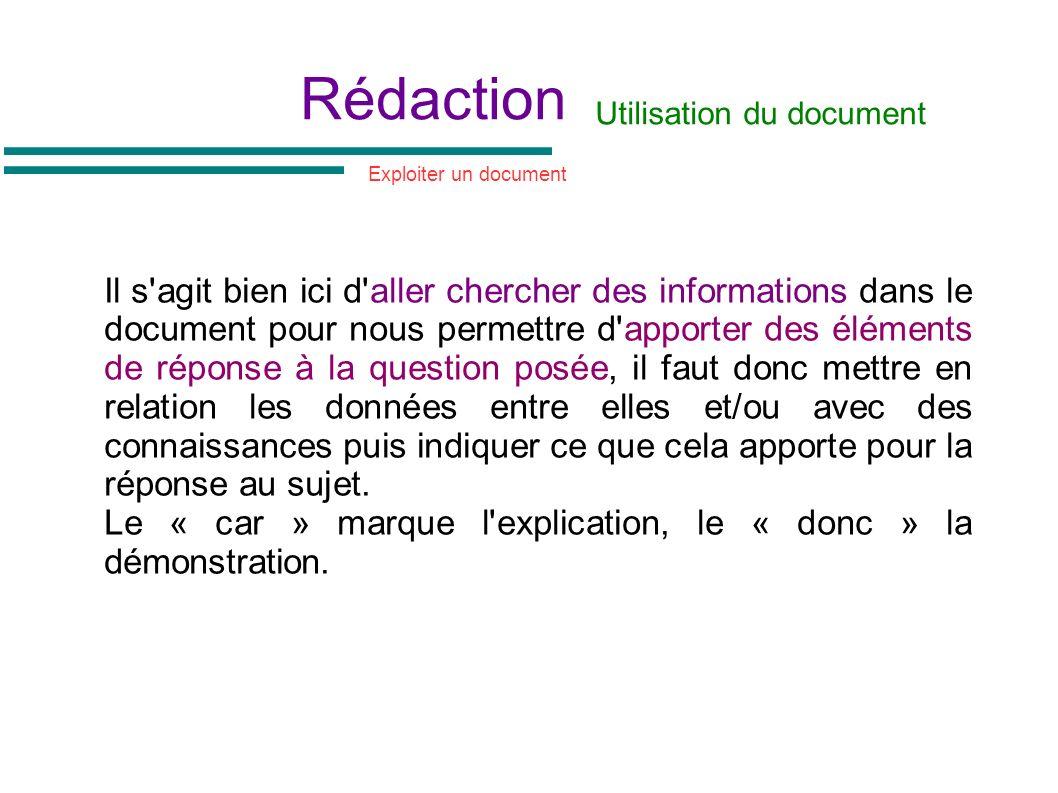 Rédaction Il s'agit bien ici d'aller chercher des informations dans le document pour nous permettre d'apporter des éléments de réponse à la question p