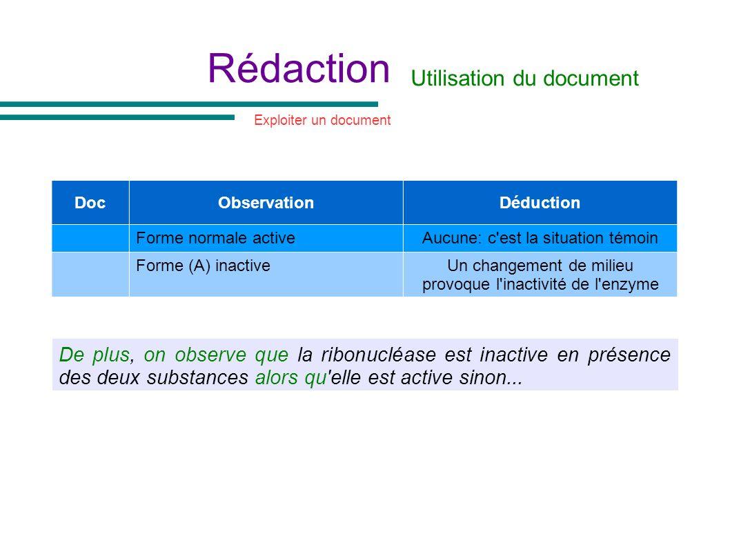 Rédaction Utilisation du document DocObservationDéduction Forme normale activeAucune: c'est la situation témoin Forme (A) inactiveUn changement de mil
