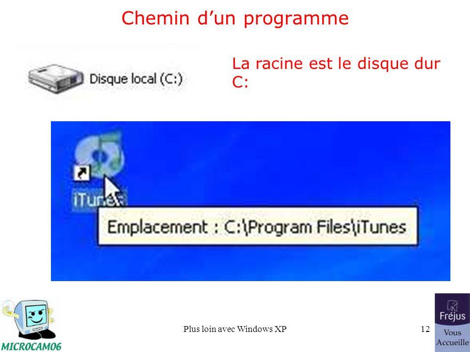 Plus loin avec Windows XP12 Chemin dun programme La racine est le disque dur C: