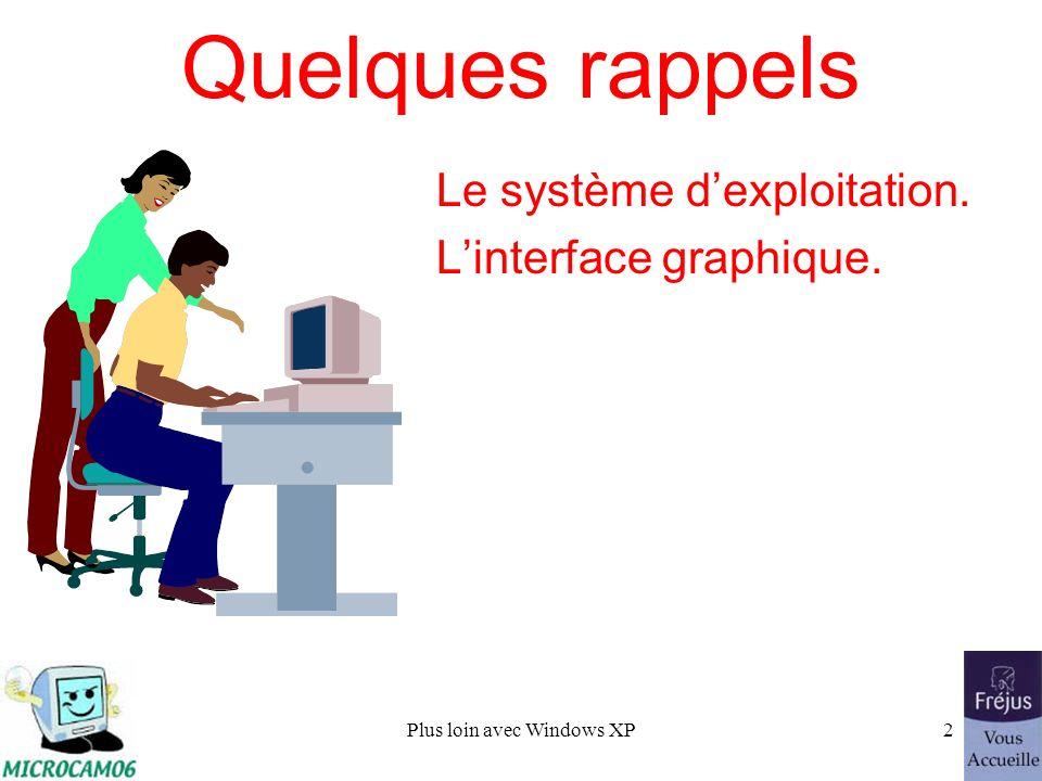 Plus loin avec Windows XP2 Le système dexploitation. Linterface graphique. Quelques rappels