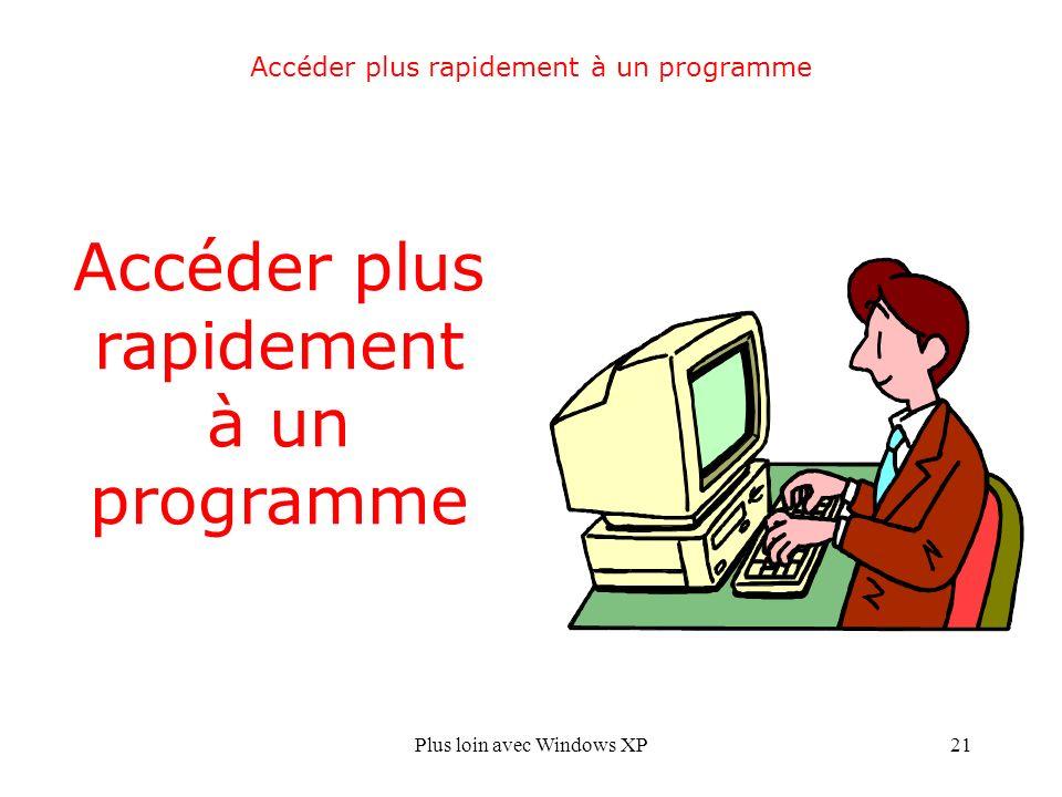 Plus loin avec Windows XP21 Accéder plus rapidement à un programme