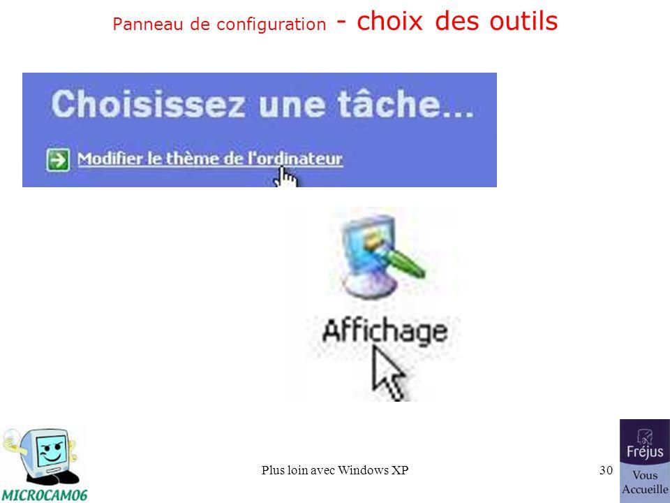 Plus loin avec Windows XP30 Panneau de configuration - choix des outils
