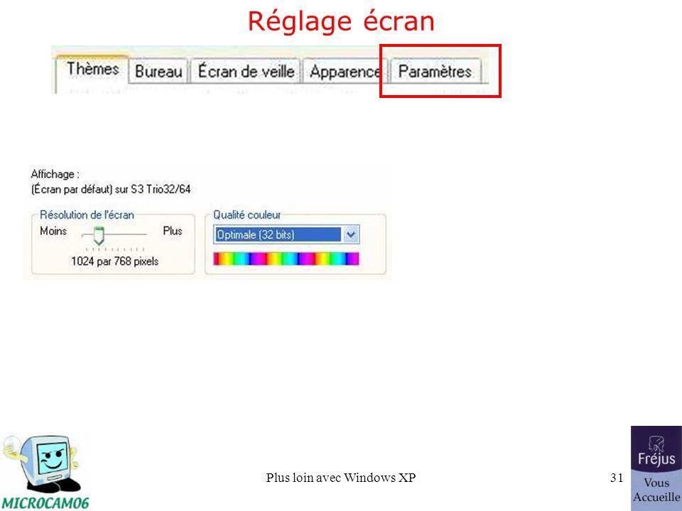 Plus loin avec Windows XP31 Réglage écran