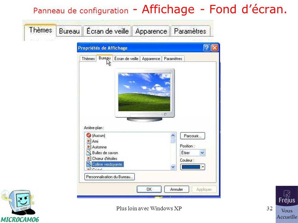 Plus loin avec Windows XP32 Panneau de configuration - Affichage - Fond décran.