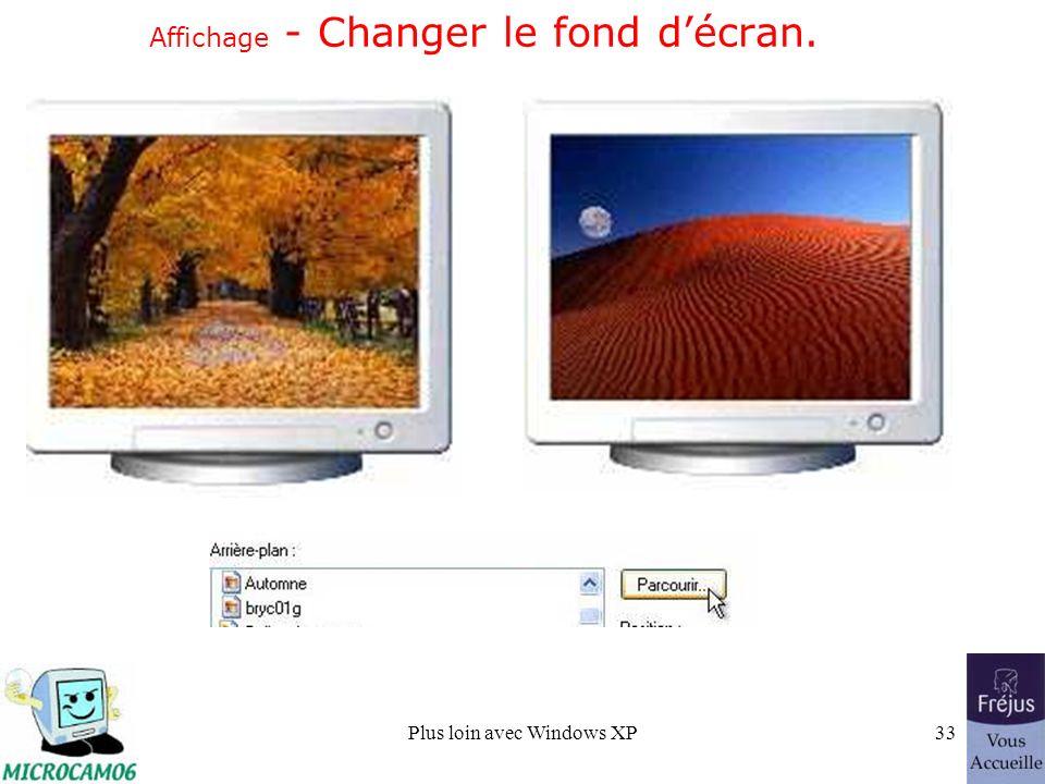 Plus loin avec Windows XP33 Affichage - Changer le fond décran.