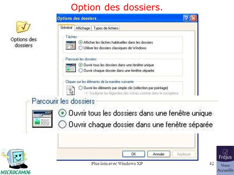Plus loin avec Windows XP42 Option des dossiers.