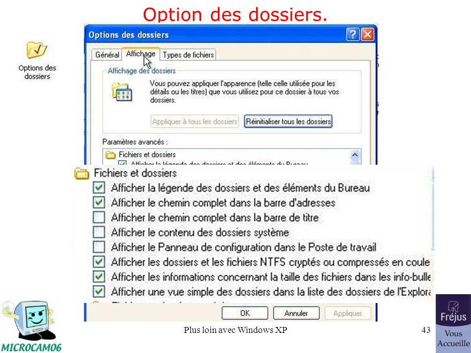 Plus loin avec Windows XP43 Option des dossiers.