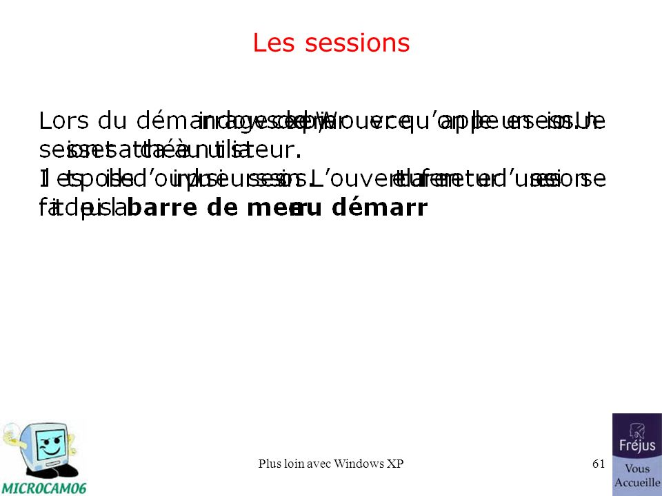 Plus loin avec Windows XP61 Les sessions
