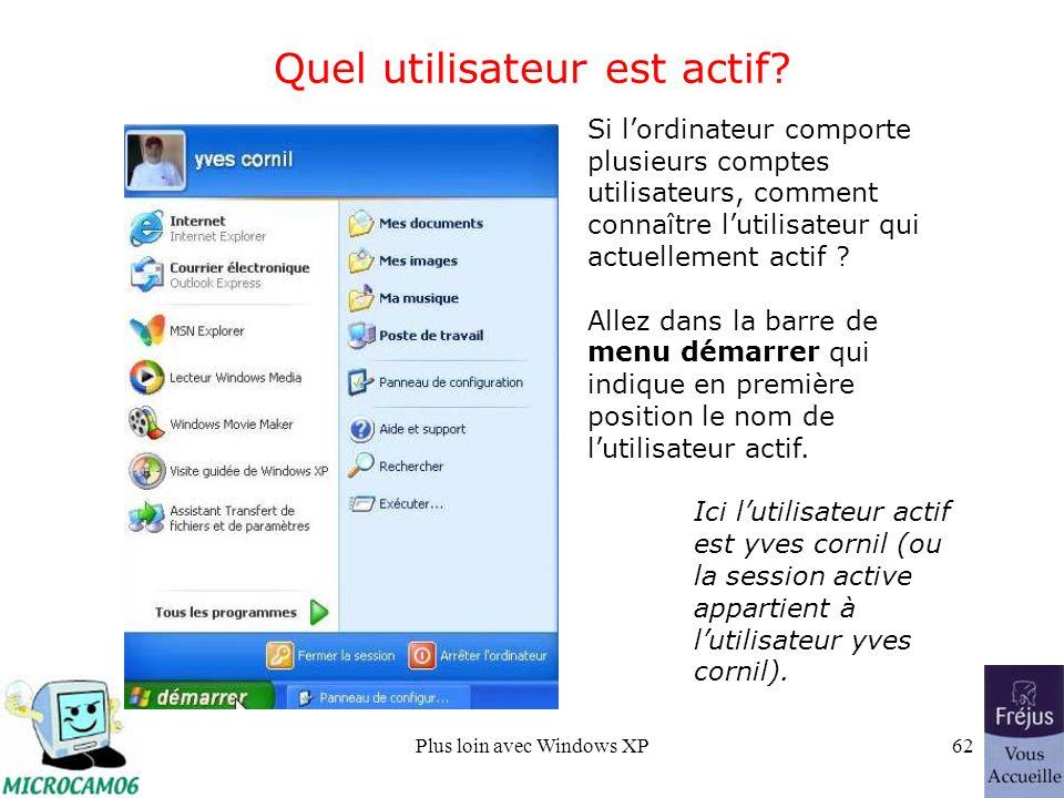 Plus loin avec Windows XP62 Quel utilisateur est actif.