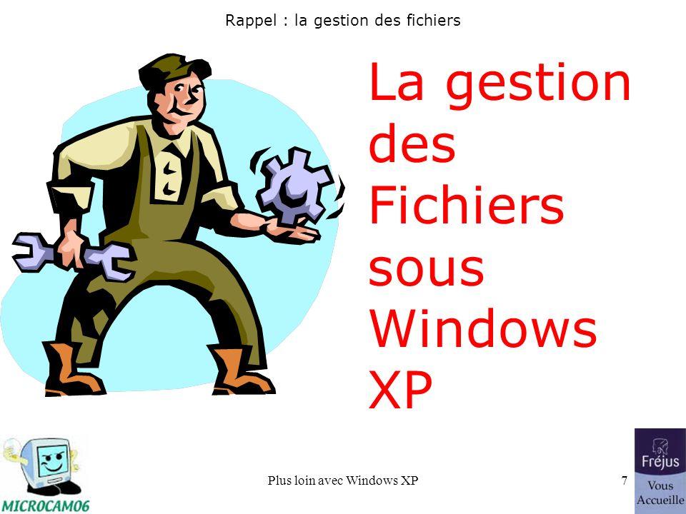 Plus loin avec Windows XP7 Rappel : la gestion des fichiers La gestion des Fichiers sous Windows XP
