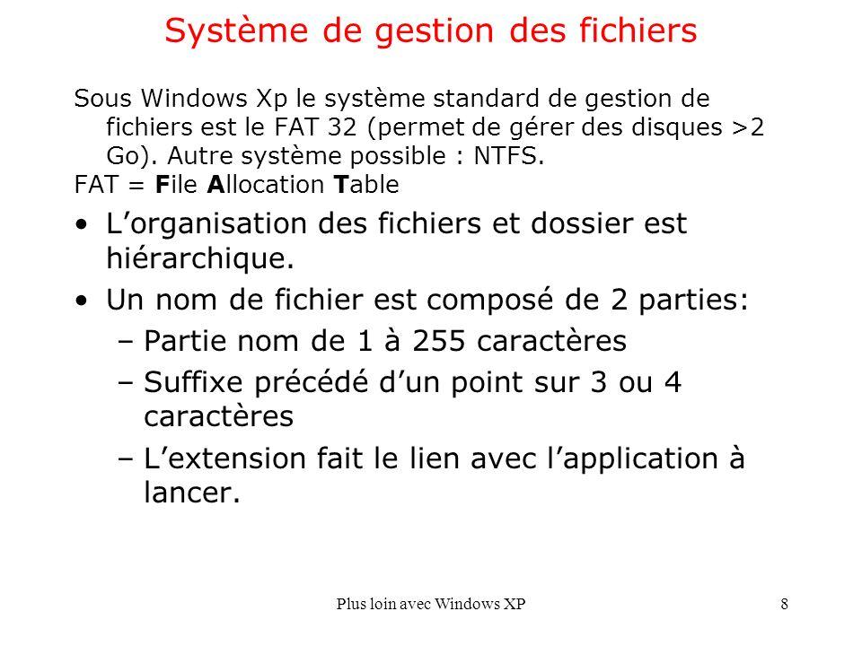 Plus loin avec Windows XP8 Système de gestion des fichiers Sous Windows Xp le système standard de gestion de fichiers est le FAT 32 (permet de gérer des disques >2 Go).