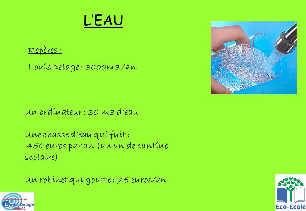 LEAU Repères : Louis Delage : 3000m3 /an Un ordinateur : 30 m3 deau Une chasse deau qui fuit : 450 euros par an (un an de cantine scolaire) Un robinet