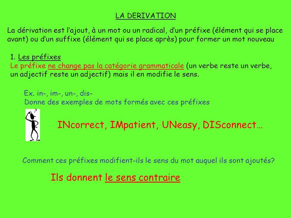 LA DERIVATION La dérivation est lajout, à un mot ou un radical, dun préfixe (élément qui se place avant) ou dun suffixe (élément qui se place après) p
