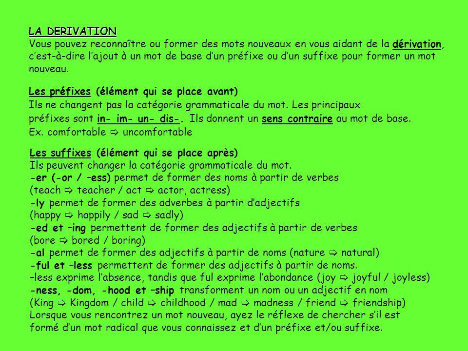 LA DERIVATION LA DERIVATION Vous pouvez reconnaître ou former des mots nouveaux en vous aidant de la dérivation, cest-à-dire lajout à un mot de base d