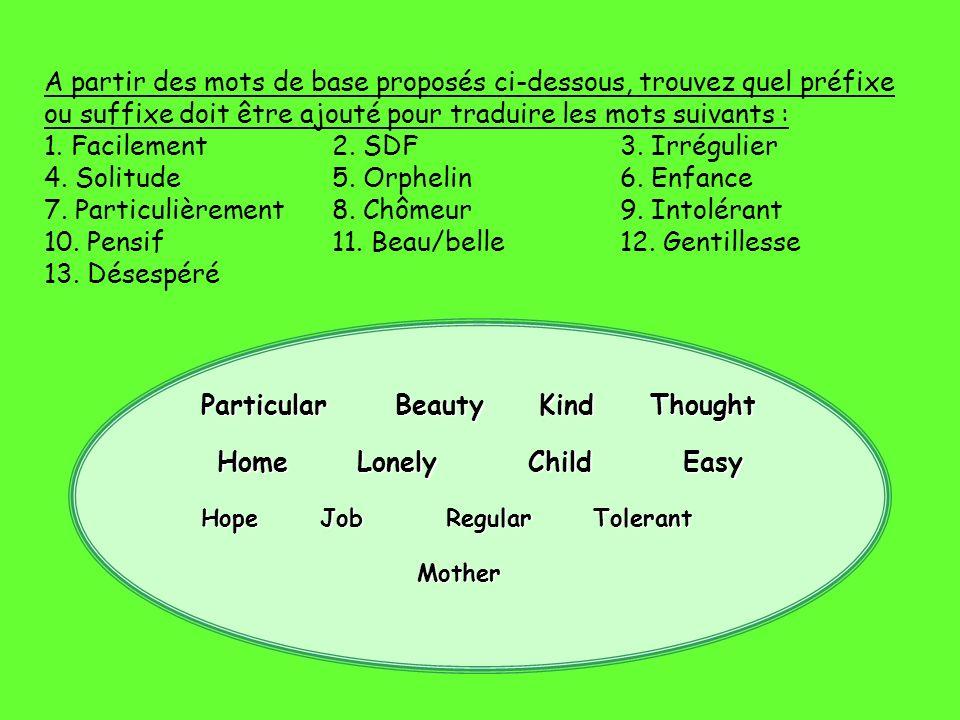 A partir des mots de base proposés ci-dessous, trouvez quel préfixe ou suffixe doit être ajouté pour traduire les mots suivants : 1. Facilement2. SDF