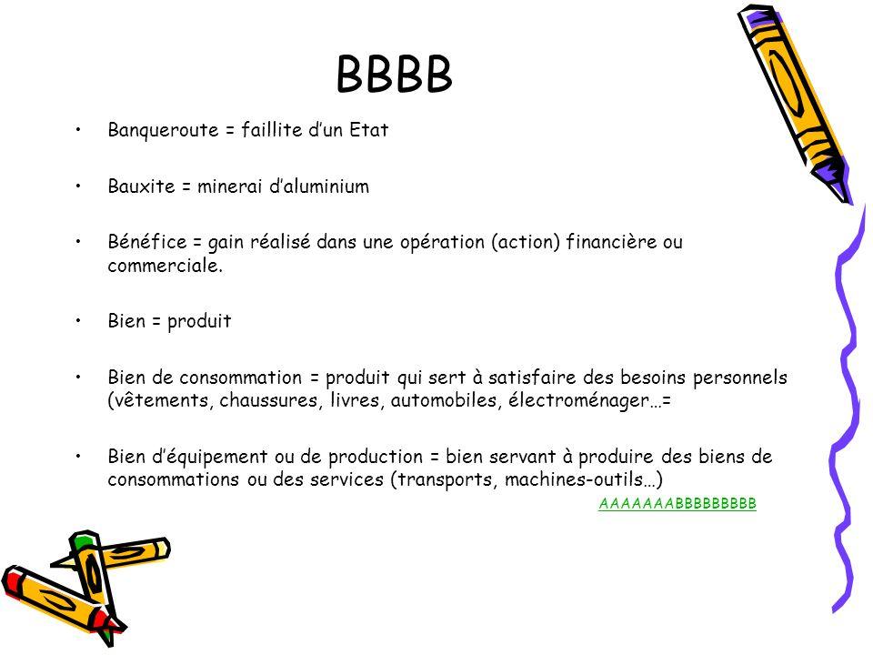 BBBB Banqueroute = faillite dun Etat Bauxite = minerai daluminium Bénéfice = gain réalisé dans une opération (action) financière ou commerciale. Bien