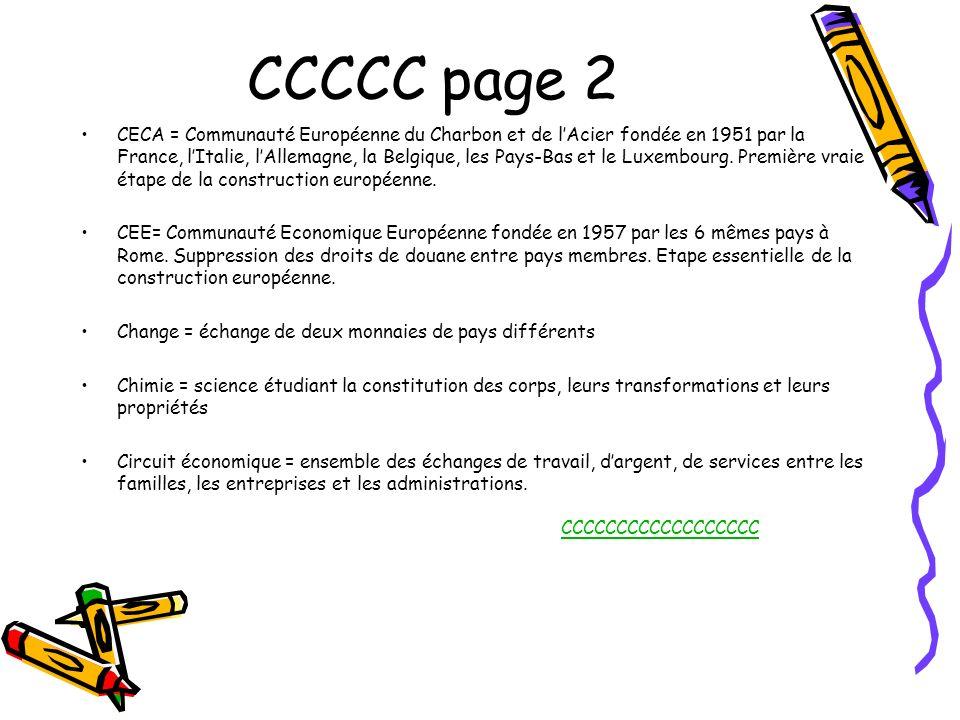 CCCCC page 2 CECA = Communauté Européenne du Charbon et de lAcier fondée en 1951 par la France, lItalie, lAllemagne, la Belgique, les Pays-Bas et le L