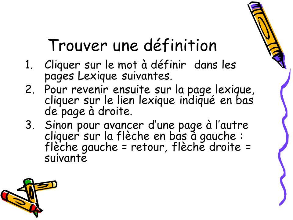 Trouver une définition 1.Cliquer sur le mot à définir dans les pages Lexique suivantes. 2.Pour revenir ensuite sur la page lexique, cliquer sur le lie