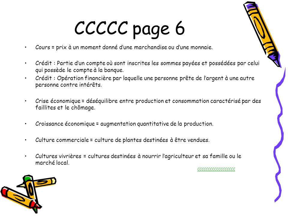 CCCCC page 6 Cours = prix à un moment donné dune marchandise ou dune monnaie. Crédit : Partie dun compte où sont inscrites les sommes payées et posséd
