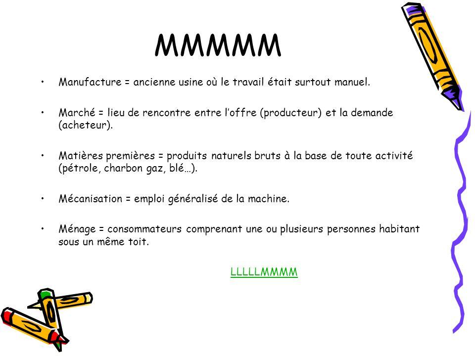 MMMMM Manufacture = ancienne usine où le travail était surtout manuel. Marché = lieu de rencontre entre loffre (producteur) et la demande (acheteur).