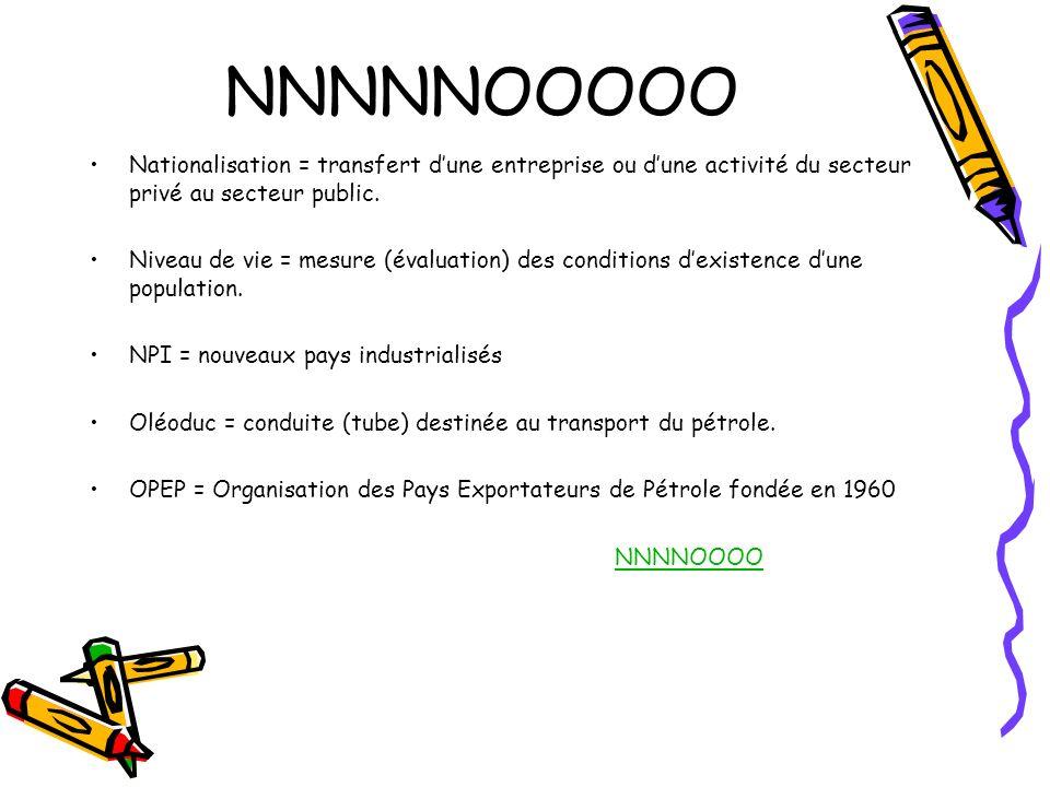 NNNNNOOOOO Nationalisation = transfert dune entreprise ou dune activité du secteur privé au secteur public. Niveau de vie = mesure (évaluation) des co