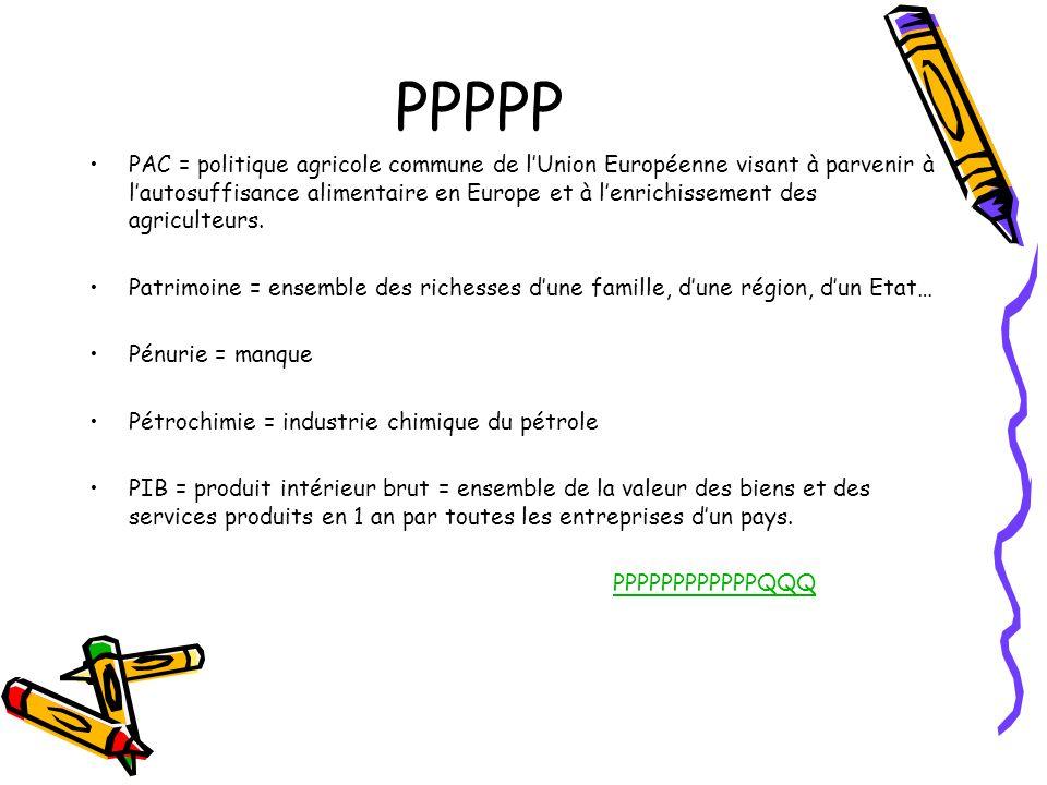 PPPPP PAC = politique agricole commune de lUnion Européenne visant à parvenir à lautosuffisance alimentaire en Europe et à lenrichissement des agricul