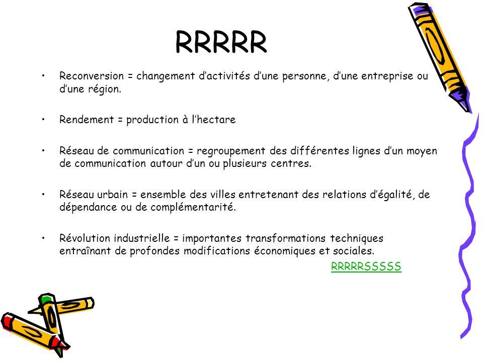 RRRRR Reconversion = changement dactivités dune personne, dune entreprise ou dune région. Rendement = production à lhectare Réseau de communication =