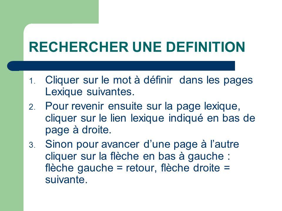 RECHERCHER UNE DEFINITION 1. Cliquer sur le mot à définir dans les pages Lexique suivantes. 2. Pour revenir ensuite sur la page lexique, cliquer sur l