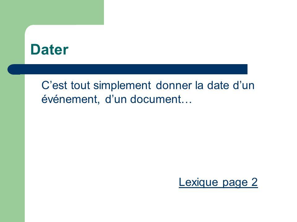 Dater Cest tout simplement donner la date dun événement, dun document… Lexique page 2