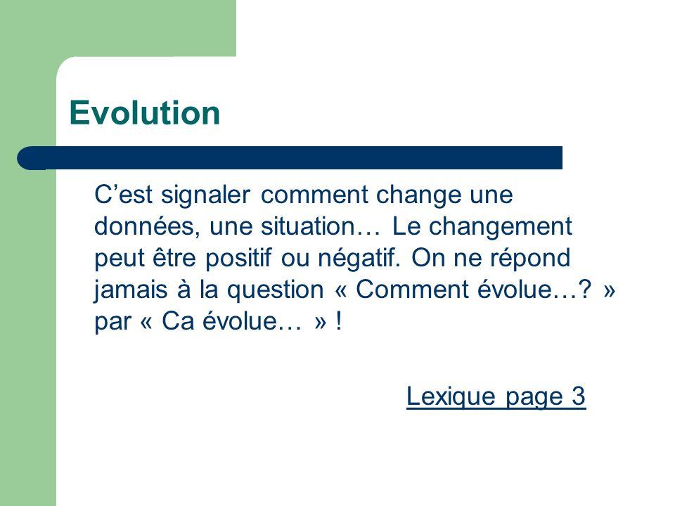 Evolution Cest signaler comment change une données, une situation… Le changement peut être positif ou négatif. On ne répond jamais à la question « Com