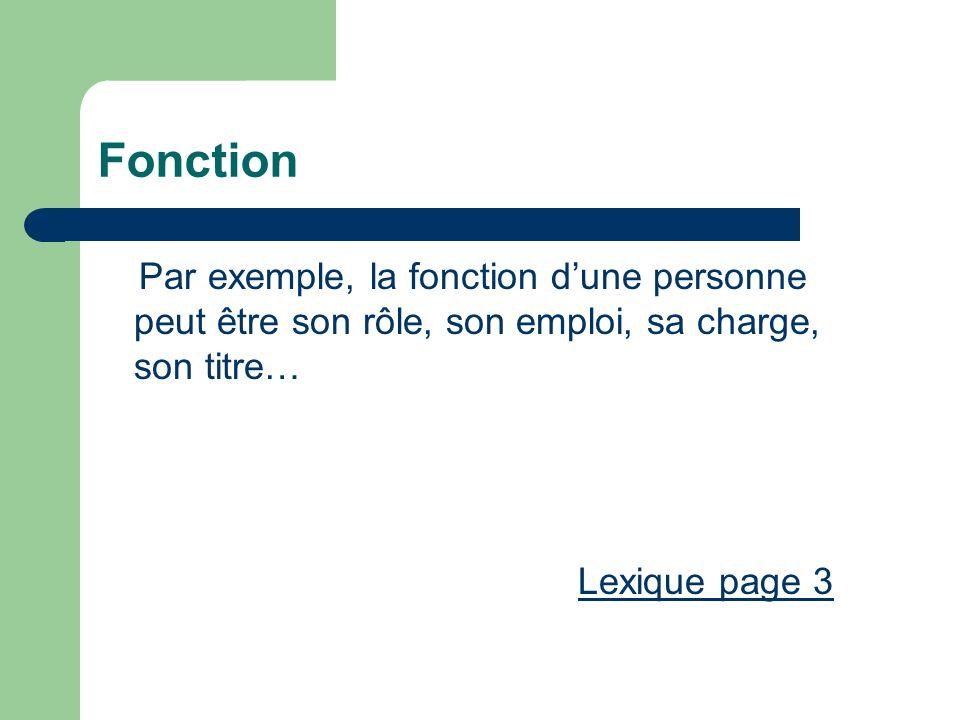 Fonction Par exemple, la fonction dune personne peut être son rôle, son emploi, sa charge, son titre… Lexique page 3