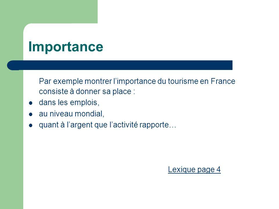 Importance Par exemple montrer limportance du tourisme en France consiste à donner sa place : dans les emplois, au niveau mondial, quant à largent que