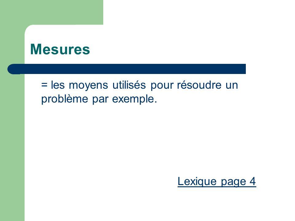 Mesures = les moyens utilisés pour résoudre un problème par exemple. Lexique page 4