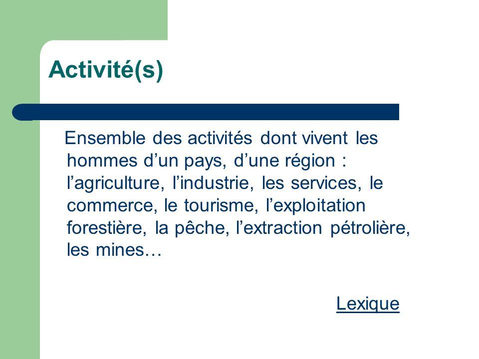 Activité(s) Ensemble des activités dont vivent les hommes dun pays, dune région : lagriculture, lindustrie, les services, le commerce, le tourisme, le