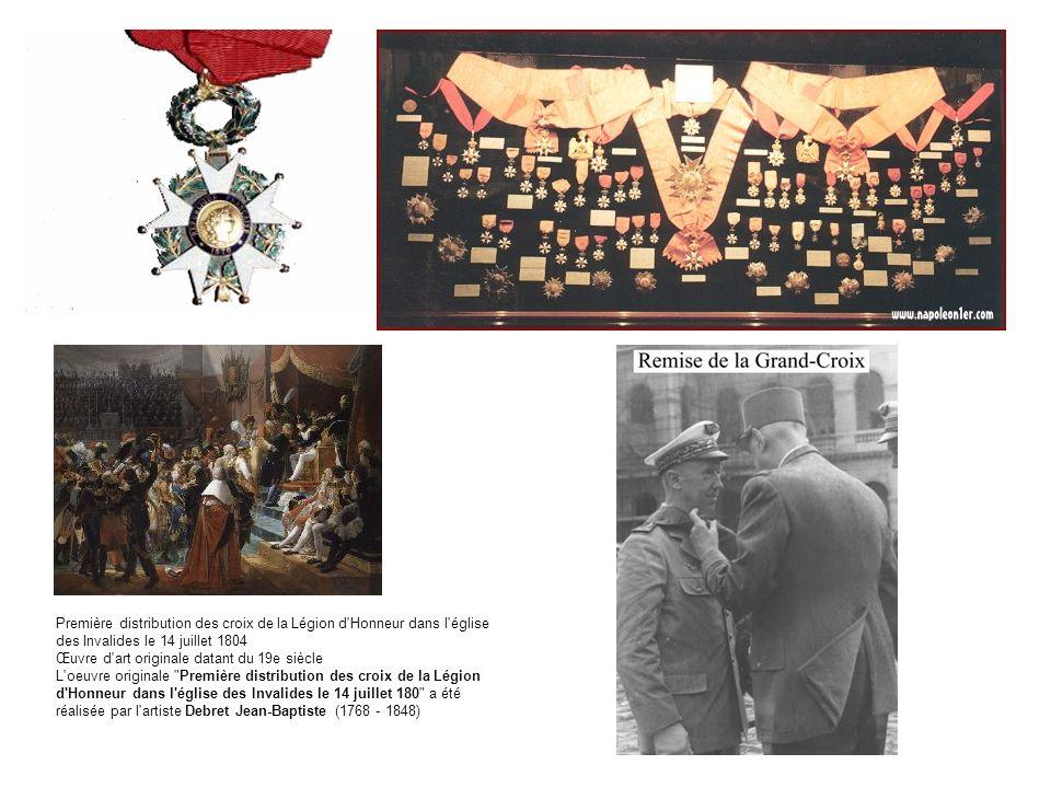 Première distribution des croix de la Légion d'Honneur dans l'église des Invalides le 14 juillet 1804 Œuvre d'art originale datant du 19e siècle L'oeu