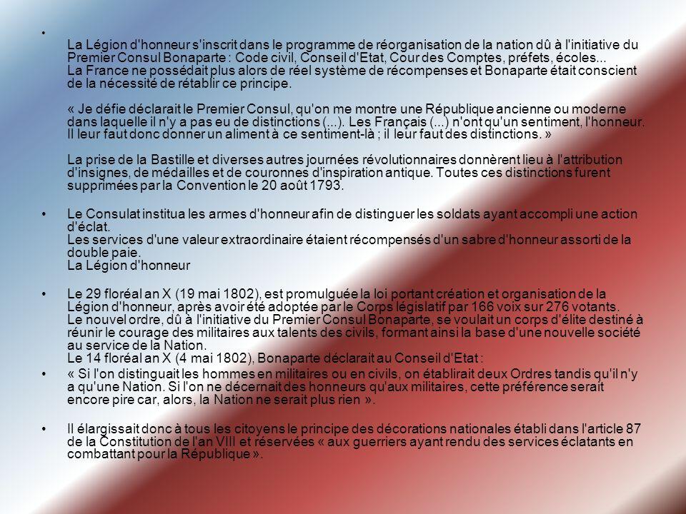 La Légion d'honneur s'inscrit dans le programme de réorganisation de la nation dû à l'initiative du Premier Consul Bonaparte : Code civil, Conseil d'E